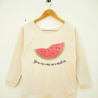Watermelon Shirt Melon Shirt Tumblr Graphic Tshirt Fashion Shirt Wide Neck Sweatshirt Women Sweatshirt Off Shoulder Long Sleeve Sweatshirt