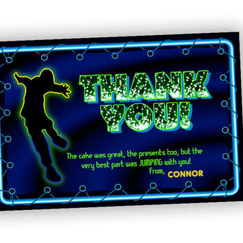 Boys Jump Party Thank You Card - Neon Green Trampoline Party Favor Tags - Blue Jump Thank You Tags - Boy Fast Personalized Glow Birthday