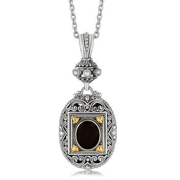 18K Yellow Gold and Sterling Silver Ornate Pendant with Black Onyx Centerpiece
