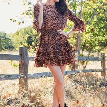 Leaping Forward Leopard Ruffle Layered Dress - Brown