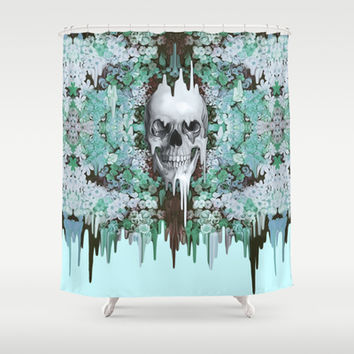 Seeing Color, melting floral skull in mint Shower Curtain by Kristy Patterson Design