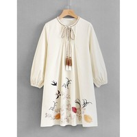 Tassel Tie Embroidered Dress