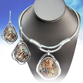 Abalone Necklace & Earrings Set