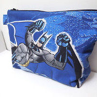 Batman Zipper Pouch Travel Bag Large DC Comic Cotton Cosmetics Superhero Make-up