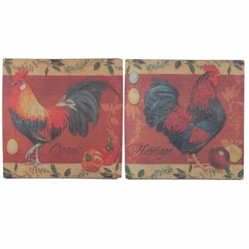 Appealing Burlap Wall Decor Rooster Design, Multicolor, Set Of 2 By Benzara
