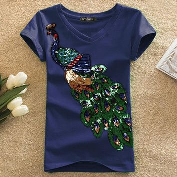 Tops and Tees T-Shirt New Fashion Women Elegant Peacock O Neck T shirt Femal Sequins Embroidery T-shirt Casual Top Tees Plus Size S-4XL   AT_60_4 AT_60_4