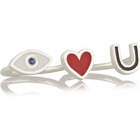 IAM by Ileana Makri - I Love You silver, enamel and sapphire two-finger ring