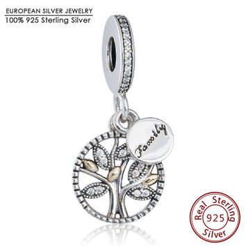 Gold Leaves Family Heritage Pendant Beads Fit Pandora Bracelet 925 Sterling Silver CZ Christmas Tree Beads Diy Jewelry