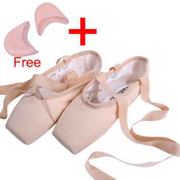 Canvas Ballet Pointe Shoes With Gel Toe Pad Girls Women's Pink Professional Ballet Dance Toe Shoes 31-40W Free Shipping