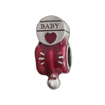 Individuality Beads Sterling Silver Baby Rattle Bead (Pink)
