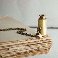 Star Gazer SPY GLASS Necklace. Antique Brass Collapsing TELESCOPE Steam Punk Astronomer Astrologer