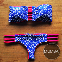 MUMBAI - Handmade Reversible Brazilian Bikini Bottom with Reversible Bandeau Strap Top