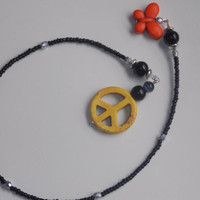 Yellow Peace Sign Orange Butterfly Seed Bead Bookmark