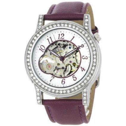 Akribos XXIV Women's AKR475PU Bravura Collection Skeleton Automatic Watch - designer shoes, handbags, jewelry, watches, and fashion accessories   endless.com