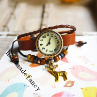 "custom hand work bracelet watches, ""fairy tale"" elk vintage wrist watch, buy watches online, cheap mens womens designer watches"