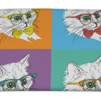 Bath Mat, Image Portrait Of Cat In The Cravat And With Glasses Pop Art Style Illustration