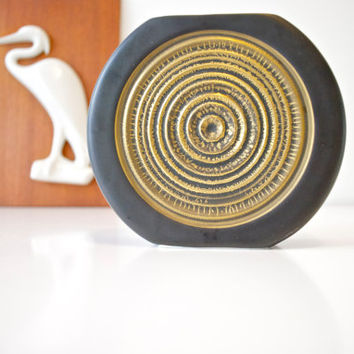 Scarce West German Modernist Gold and Black Target Relief Porcelain Vase by Thomas