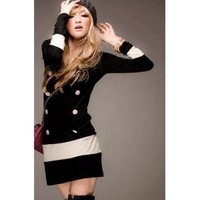 Black&White Double-breasted Suit Long Sleeves Blouse--Women's Blouses China Wholesale - Sammydress.com