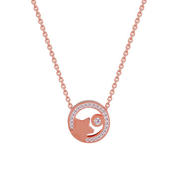 Star Solitaire Choker Chain Charm Rose Gold Stainless Steel Simulated Diamond Women