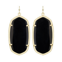 Kendra Scott Danielle Black Opaque Glass Earrings 14K Gold
