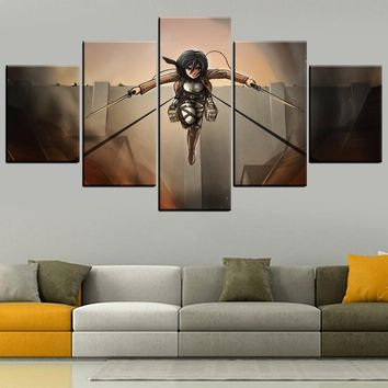 Cool Attack on Titan HD Print Type Home Decorative Canvas Art 5 Piece Anime  Mikasa Ackerman Modular Animation Poster For Living Room AT_90_11