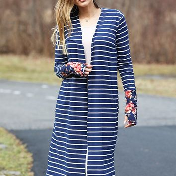 This Is Me Striped Long Sleeve Cardigan (Navy)