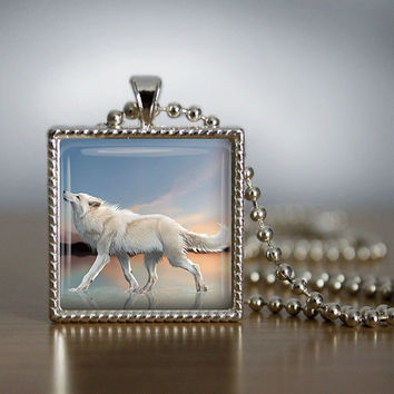 Glass Tile Necklace Wolf Necklace  Glass Tile Jewelry White Wolf Animal Jewelry  Wolf Jewelry Beach Necklace Beach Jewelry