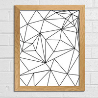 Geometric Art Print Triangle Art  Line art black and white art Abstract art printable art Black Lines Wall Decor Home Décor Abstract Print