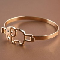 Cute Golden Elephant Fashion Bangle