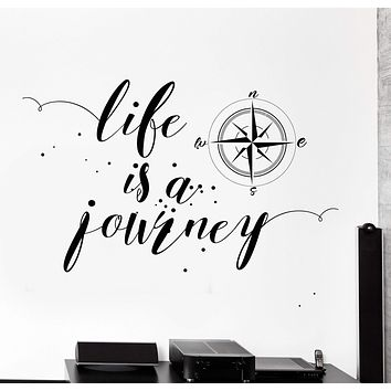 Wall Vinyl Decal Motivation Quote Life Is The Journey Compass Stars Decor Unique Gift z4368