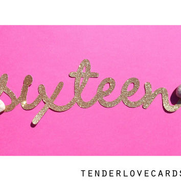 "Custom GLITTER Handwritten Name Die Cut  - Choose your color and size! 5"" - 10"""