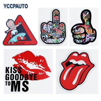 YCCPAUTO Funny Car Sticker Baby On Car Kiss Finger Car-Styling Auto Racing Decoration Creative Useful Stickers 1PCS