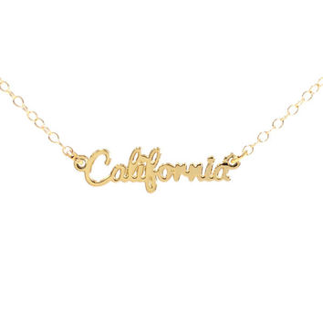 Kris Nations California Script Necklace Gold Plated Brass & Sterling Silver 18 inch