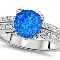 Star K Round 7mm Simulated Blue Opal Engagement Wedding Ring Size 5