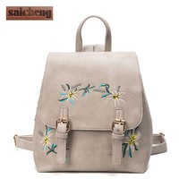 Fashion Floral Pu Leather Backpack Women Embroidery School Bag For Teenage Girls Brand Ladies Small Backpacks Gray Sac A Dos