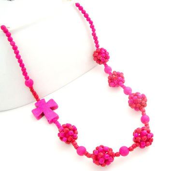 Pink Necklace For Her, Handmade Beaded Jewelry, Sideways Cross Necklace, Pink Jewelry, Religious Necklace, Colorful Necklace,