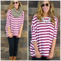Galloway Wine Striped Piko Top