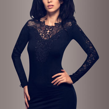 Black Sweater Dress with Black Lace and Elegant Lacing