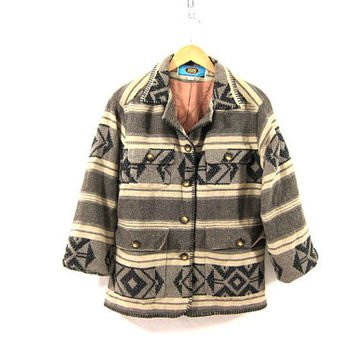 20% OFF SALE. 80s Maurizio Ramani Southwestern Coat. Tribal Coat. Wool blend Blanket Coat. women's size small
