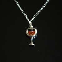 Wine Pendant, Sterling Silver Pendant with Chain, Cocktail jewelry,