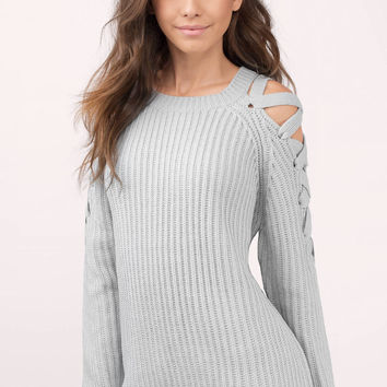 Vana Lace Up Shoulder Sweater