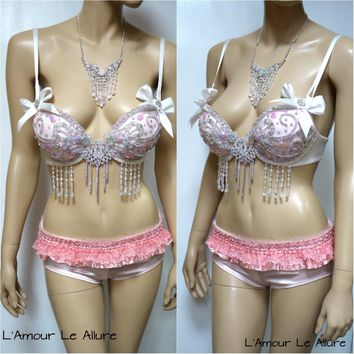 Sweet Pastel Pink Glitter Bra with Scrunchie Bottom