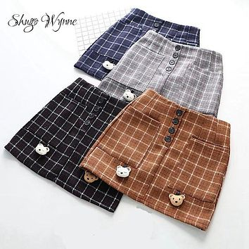 Shugo Wynne Mori Girl Skirts 2017 Autumn Winter New Women Kawaii Bear Plaid Pocket Pack Hip Slim Woolen Skirt A-line Skirt