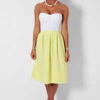 Lanzar Chartreuse A Line Pleated Midi Skirt | Pink Boutique