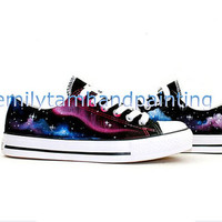 Galaxy Converse Sneakers Galaxy Low Top Sneaker- Orginal Design Hand Painted Converse Shoes