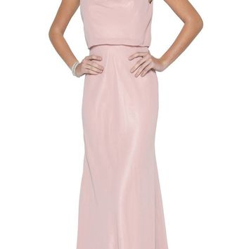 Dusty Rose Floor Length Formal Dress with Cowl Neckline