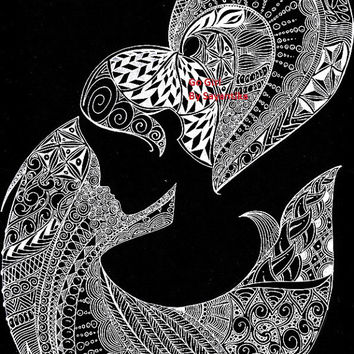 Go Girl - 9x12 Zentangle drawing / Zentangle Art black and white Illustration Black Abstract Archival print Girl