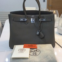 HERMES BIRKIN BAG, GREY, LEATHER WITH PALLADIUM HARDWARE - BNWT