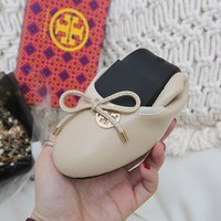 TB Tory Burch new cheap Women Leather beige flat heels Boots Fashion Casual Shoes Best Quality