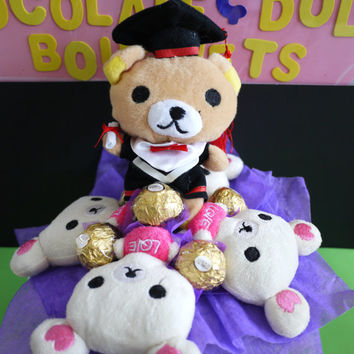 Rilakkuma Graduation Flower Bouquet with Ferrero Rocher Chocolates. Perfect graduation gift!